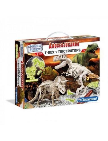 Arqueojugando TRex Y Triceratops Fluore