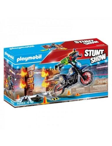 Stuntshow Moto Con Muro De Fuego De Play